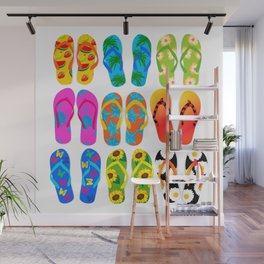 Sandals Colorful Fun Beach Theme Summer Wall Mural