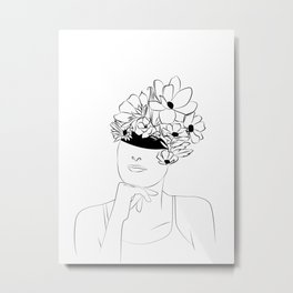 les yeux bandés -blind lover - women with flower Metal Print