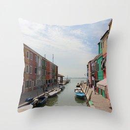 Burano in Venezia Throw Pillow