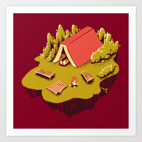 The Best Vacation Reading Book Camping Art Print