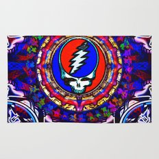 Grateful Dead 'Steal Your Face' Colorful Mandala Psychedelic Skeleton Tapestry Rug