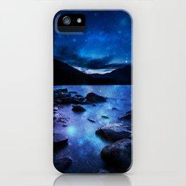 Magical Mountain Lake Dark Blue iPhone Case
