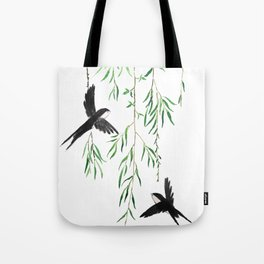 green willow leaf and swallow watercolor Tote Bag