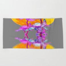 PURPLE-WHITE IRIS MOON REFLECTION Beach Towel