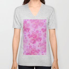 Cute and girly - pink flowers and dots - pink tones - #society6 #buyart Unisex V-Neck
