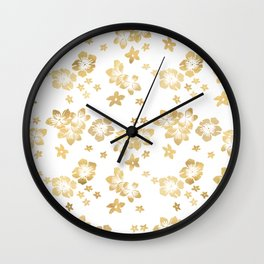 Gold Tropical Flowers Wall Clock