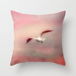Seagull flying Throw Pillow