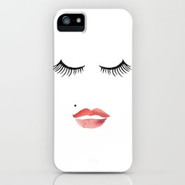 makeup print,bathroom decor,wall art,fashion print,lips print,eyelashes decor,girly,girls room art iPhone Case
