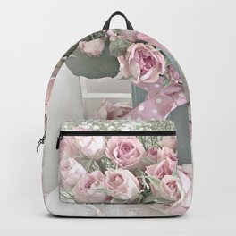 Pastel Roses In Vase - Shabby Chic Roses Pink Aqua Floral Print Home Decor Backpack