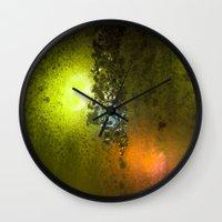 saga Wall Clocks featuring Condensation 08 - Saga | Citrus by PRE Media