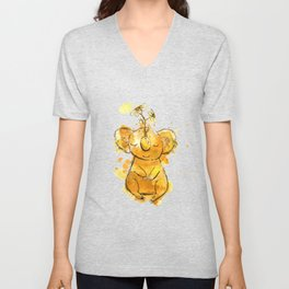 Koala Chamomile Watercolour Illustration Unisex V-Neck