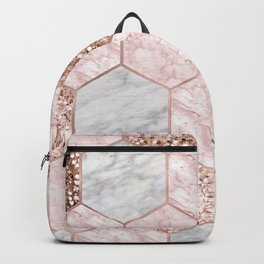 Rose gold dreaming - marble hexagons Backpack