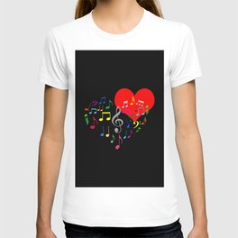 The Singing Heart. Color On Black. Simple And Chic Conceptual Design T-shirt