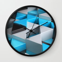 Pattern of black, white and blue triangle prisms Wall Clock