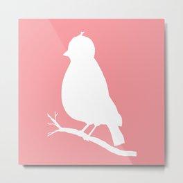 White bird on Coral Pink Background Metal Print