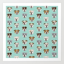 English Bulldog pattern print dog breed pet portrait gifts for dog owner bulldog Art Print