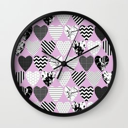 Hearts And Love - Black and white, geometric Pattern Wall Clock
