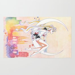 Can not Fight The Moonlight Watercolor Version Rug