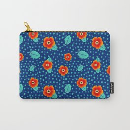 Tiny Red Flowers on Dark Background with Turquoise Leaves Pattern | Surface Design Carry-All Pouch
