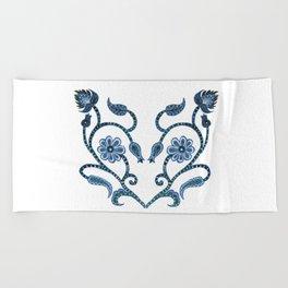 Blue Paisley Heart Beach Towel