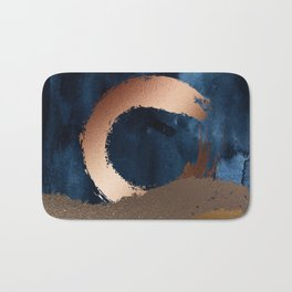 Navy Blue, Gold And Copper Abstract Art Bath Mat
