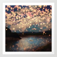 pencil Art Prints featuring Love Wish Lanterns by Paula Belle Flores