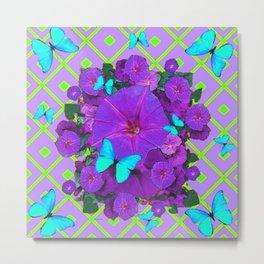 Turquoise Butterflies Purple Green Pattern Floral Metal Print
