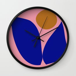 Abstract Cut Out Floral Art in Pink, Blue, and Mustard Yellow Wall Clock