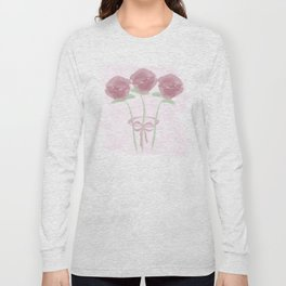 Watercolor Pink Roses Bouquet Long Sleeve T-shirt