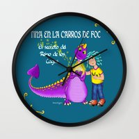 tina crespo Wall Clocks featuring Tina & Carros de Foc by Tina