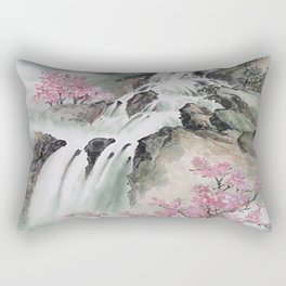 WATERFALLS AND MOUNTAIN LANDSCAPE Rectangular Pillow