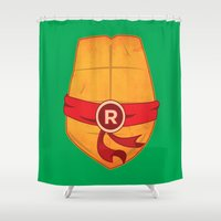 ninja turtle Shower Curtains featuring Raphael Turtle by Salina Ayala