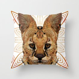 Serval Mandala Throw Pillow