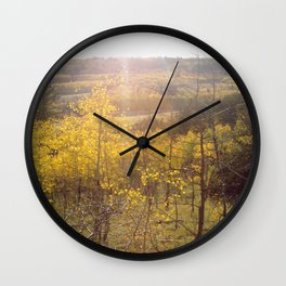 Shining Down on Rocky Mountains Wall Clock