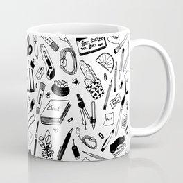 Hand drawn, seamless pattern school stationery items. Black on white background. Plants succulents, Coffee Mug