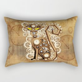 Steampunk Cat Vintage Style Rectangular Pillow