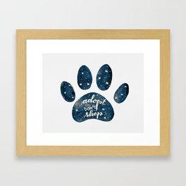 Adopt don't shop galaxy paw - blue Framed Art Print