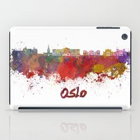 oslo iPad Cases featuring Oslo skyline in watercolor by Paulrommer