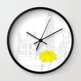 Yellow Umbrella Girl in London Wall Clock