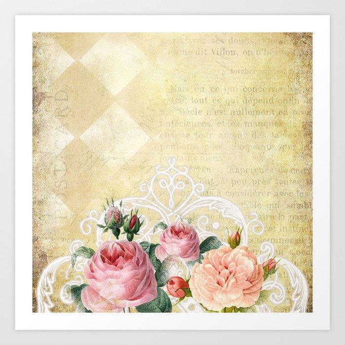 vintage old love letter roses 9 art print