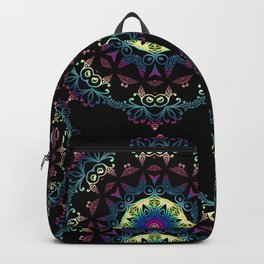 Abstract mandala-pattern on the black background Backpack