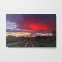 Northern sunset and a railway Metal Print