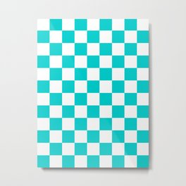 Checkered - White and Cyan Metal Print