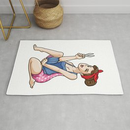 Sexy hair stylist with dress and scissors Rug