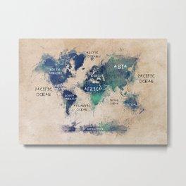 world map 138 #worldmap #map Metal Print