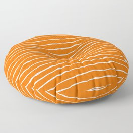 Bright Orange and White Stripes Floor Pillow