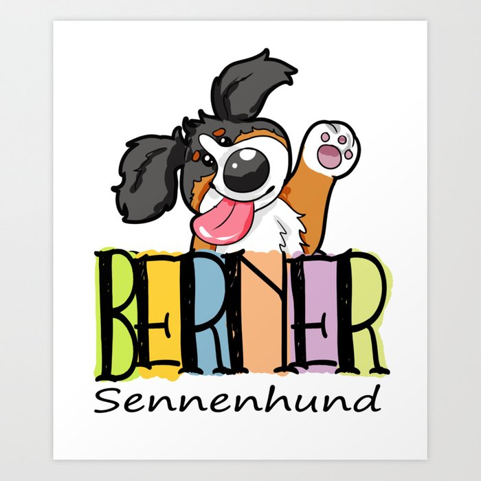 Happy Bernese Mountain Dog Puppy Cute Cartoon Gift Art Print By Moonpie90 Society6
