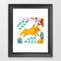 Happy Fall, Dogs! (Frenchie) Framed Art Print