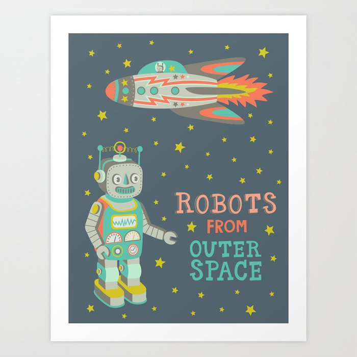 Robots from outer space art print by silviadekker society6 for From outer space