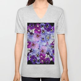 PURPLE-WHITE-PINK PANSY FLOWERS & BLACK Art Unisex V-Neck